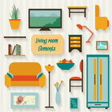 Living room with furniture. And long shadows. Flat style vector illustration Royalty Free Stock Images