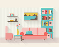 Living room with furniture. And long shadows. Flat style vector illustration Royalty Free Stock Image