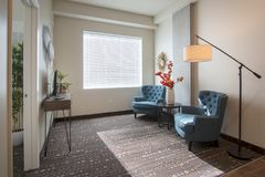 Modern New Apartment Living Room and Furniture Royalty Free Stock Photos