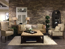 Living room furniture sale at furniture market Stock Photo