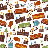 Living room furniture seamless pattern background Stock Images