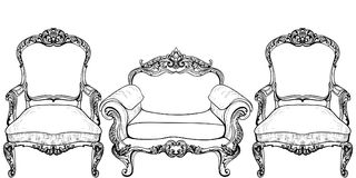 Living room furniture set. Baroque armchair with luxurious ornaments. Vector French Luxury rich intricate structure Stock Photography