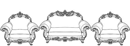 Living room furniture set. Baroque armchair with luxurious ornaments. Vector French Luxury rich intricate structure Stock Photo