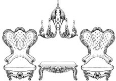 Living room furniture set. Baroque armchair with luxurious ornaments. Vector French Luxury rich intricate structure Royalty Free Stock Photography