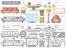 Living room furniture set in flat style. Sofa, armchair, TV, bedside table, sconce illustration. Symbol collection for architecture design studio, house Stock Photos