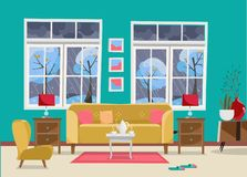 Living room with Furniture-sofa with table, nightstand, paintings, lamps, vase, carpet, porcelain set, soft chair in room with two. Large window.Outside winter royalty free illustration