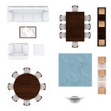 Living room furniture top view collection Royalty Free Stock Photography