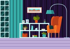 Living room with furniture, window, curtains. Modern flat cartoon style vector illustration. Interior background with armchair,. Shelving, lamp. On the shelving royalty free illustration
