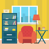 Living room with furniture and window. Reading room. Flat style  illustration. Royalty Free Stock Images
