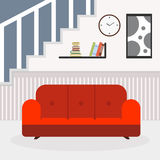 Living room with furniture and window. Reading room. Flat style  illustration. Royalty Free Stock Photography
