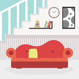 Living room with furniture and window. Reading room. Flat style  illustration. Stock Image