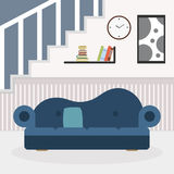 Living room with furniture and window. Reading room. Flat style  illustration. Royalty Free Stock Photo
