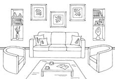 Living room graphic black white interior sketch. Illustration Royalty Free Stock Images
