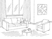 Living room graphic black white interior sketch illustration vector Royalty Free Stock Photo