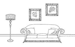 Living room graphic black white interior sketch illustration. Vector Stock Images