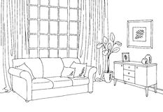 Living room graphic black white interior sketch illustration. Vector Royalty Free Stock Image