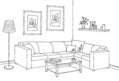 Living Room Graphic Black White Interior Sketch Illustration Vector Stock Photography