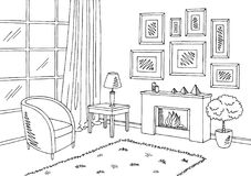 Living room graphic black white interior sketch illustration royalty free illustration