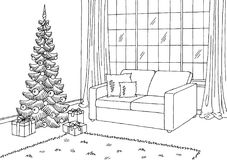 Living room graphic Christmas tree black white interior sketch illustration Royalty Free Stock Photo