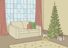Living room graphic Christmas tree color home interior sketch illustration vector royalty free illustration