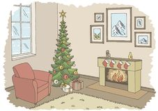 Living room graphic Christmas tree color interior sketch illustration vector royalty free illustration