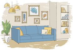 Living room graphic color interior sketch illustration vector Stock Images