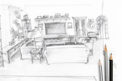 Living room graphical sketch with drawing tools Stock Image