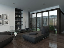 Living room with gray couch and parquet floor Stock Image