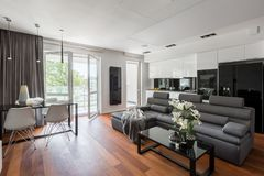 Living room with gray sofa. Contemporary and elegant living room with gray sofa, table and open balcony doors royalty free stock photos