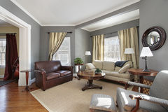 Living room with gray walls royalty free stock image