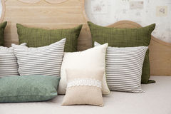 Living room with green pillow cushions on sofa. Detail of modern living room with green pillow cushions on sofa Royalty Free Stock Photos