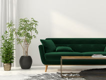 Living room with green sofa. 3D illustration. Interior of the living room with green sofa Stock Photo