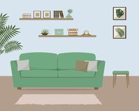 Living room with green sofa. There is also a shelves with books and home decor in the image. There are pictures with tropical plants on the wall. Vector Royalty Free Stock Images