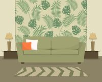 Living room in green. There is a sofa in the background of wallpaper with a tropical pattern vector illustration