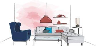 Living room. Hand draw   illustration Stock Image