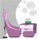 Living room. Hand draw   illustration Royalty Free Stock Photo