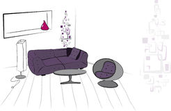 Living room. Hand draw   illustration Royalty Free Stock Photography