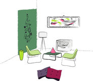 Living room. Hand draw   illustration Stock Images