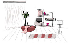 Living room. Hand draw   illustration Stock Photography