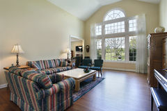 Living room with hardwood flooring. Living room in suburban home with hardwood flooring Stock Photos