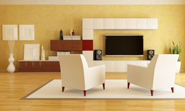 Living room with hd tv. Elegant living room with flat tv - rendering Royalty Free Stock Photo