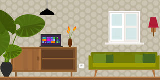Living room home interior vector illustration Stock Photo