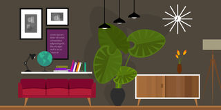 Living room home interior vector illustration Royalty Free Stock Photo