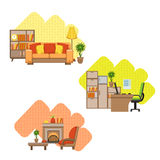 Living Room And Home Office Interior Design Set Royalty Free Stock Photo
