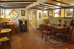 Living room of the Houseboat Museum in Amsterdam. Stock Photos