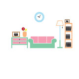 Living room icons color Stock Image