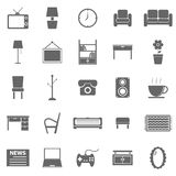 Living room icons on white background Stock Photos