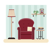 Living room  illustration. A cosy living room interior design. Vector illustration of a comfort place for reading Royalty Free Stock Images