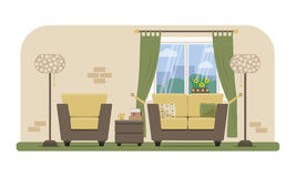Living room illustration. Flat style  illustration of a living room with modern furniture Stock Photos