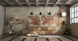 Living room in industrial style Stock Images